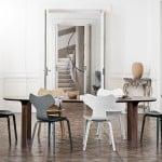 Comedor de estilo nórdico con mobiliario de Fritz Hansen