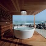 Bañera de exterior redonda Geo diseño de Ludovica y Roberto Palomba