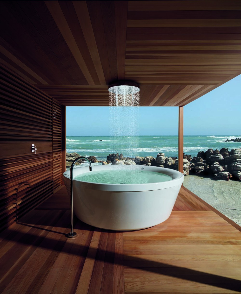 Cabinas De Ducha Kos:Bañera-redonda-exterior-con-ducha-de-lluvia-de-Kos-e1431432565509jpg