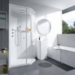 Cabina de ducha blanca de Kos