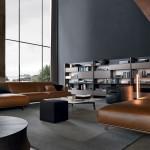 Salón moderno con sofás en cuero de Poliform
