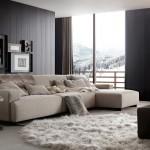 Salón con sofá moderno combinado con chaise longue