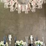 Chandelier de cristal, copas y vajilla de Baccarat
