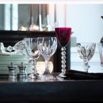 Copas de vino y agua en cristal de colores Baccarat
