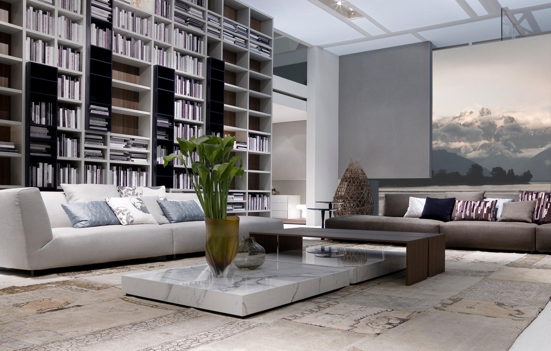 Librer a y sof s modulares de poliform for Interior designer famosi
