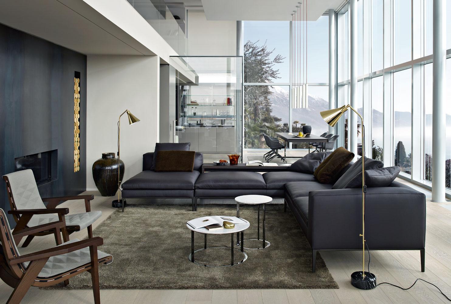 Salón moderno con sofá Michel de Antonio Citterio para B&B Italia