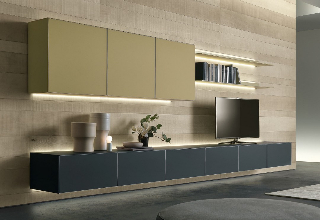 Sistema de almacenaje de pared y mueble tv rimadesio www - Mueble de almacenaje ...