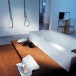Suelo de baño en mosaico de madera de Teca