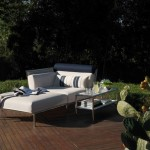 Chaise longue y mesita serie Capri de Fendi Outdoor