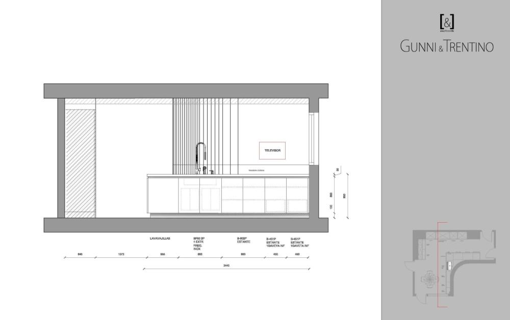 plano gral cocina moderna para diseño y montaje
