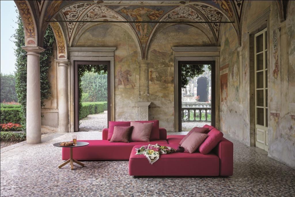 Sofá modular de exterior color rosa