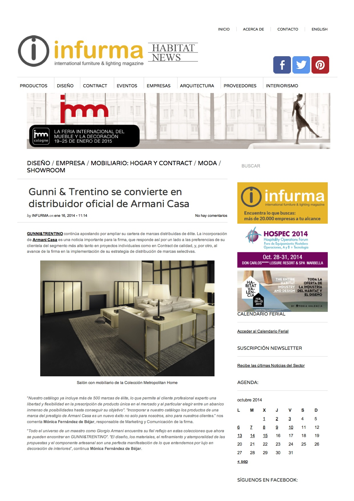 , Infurma HABITAT NEWS enero 2014, Gunni & Trentino