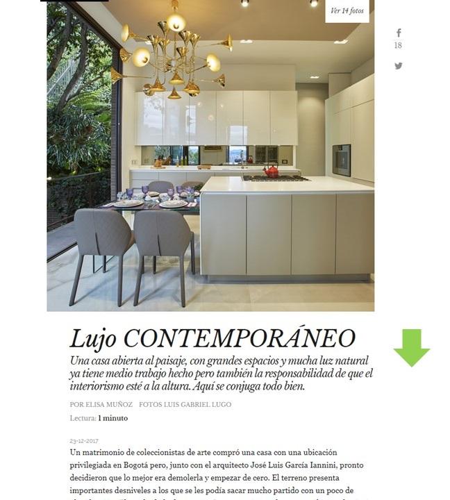 , AD – enero 2018 Reportaje «Lujo Contemporáneo» Vivienda completa, Gunni & Trentino