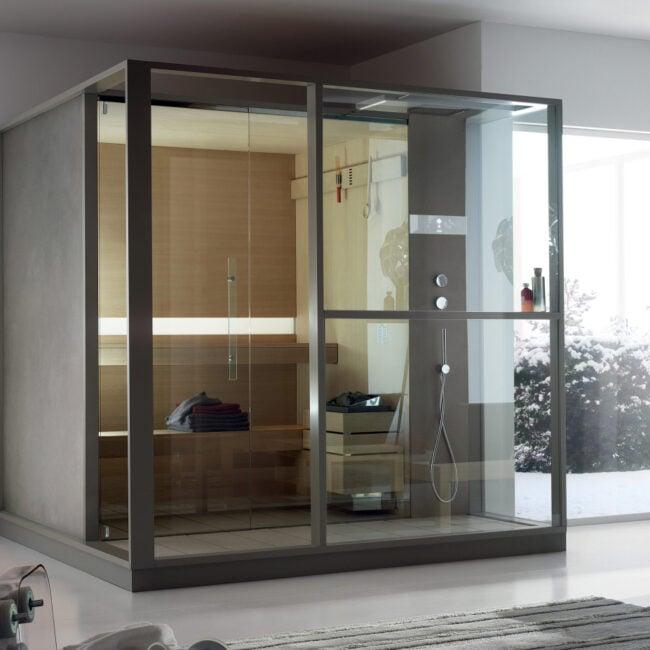 Sauna de diseño con todas las comodidades y calidades