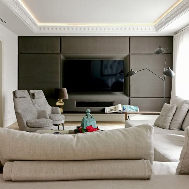 salón de diseño en tonos suaves